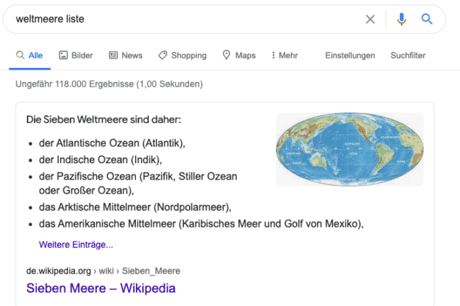 Beispiel Featured Snippet